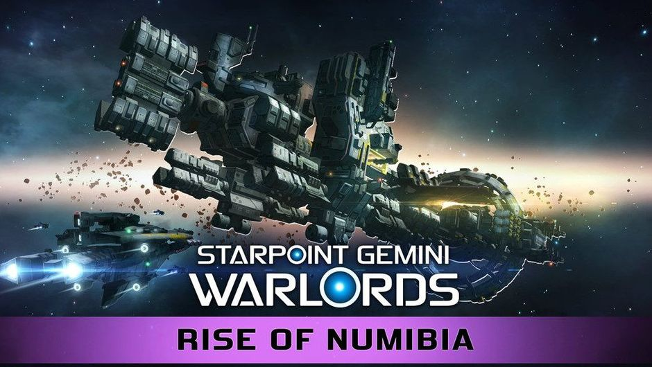 Starpoint Gemini Warlords DLC promotional poster showing a giant space ship surrounded by smaller ones. It's in space.
