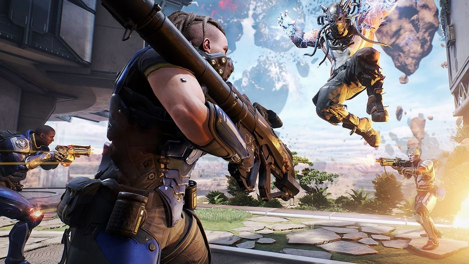 Two heros from co-op shooter game LawBreakers fighting