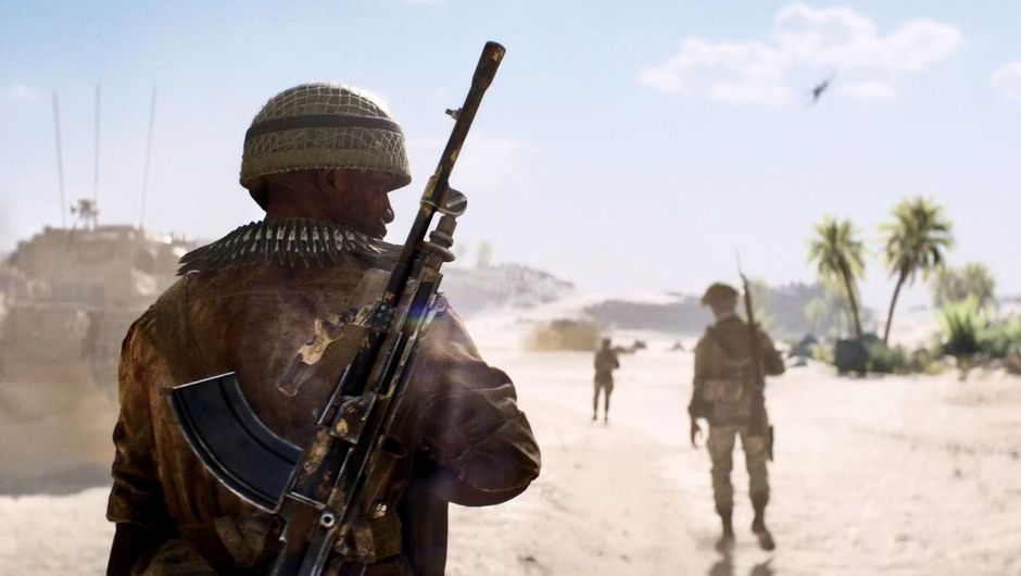 Battlefield 5 screenshot showing soldiers in the desert walking away from the camera