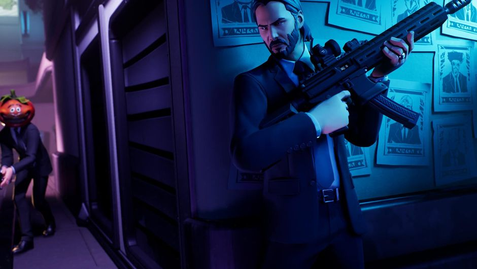 fortnite artwork showing john wick in cover holding a gun