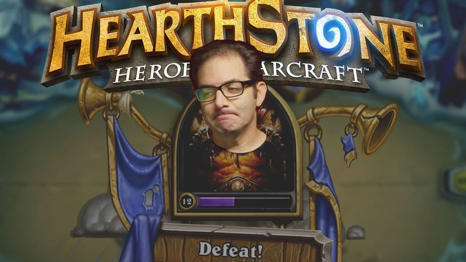 Montage of Jeff Kaplan on Hearthstone's loss screen
