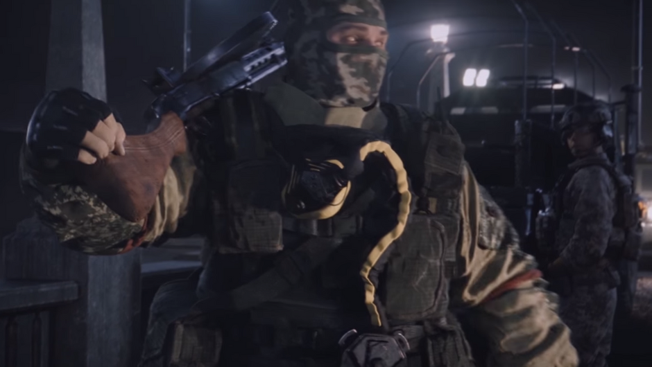 A still from Rainbow Six Siege Outbreak cutscene showing Tachanka without his helmet.