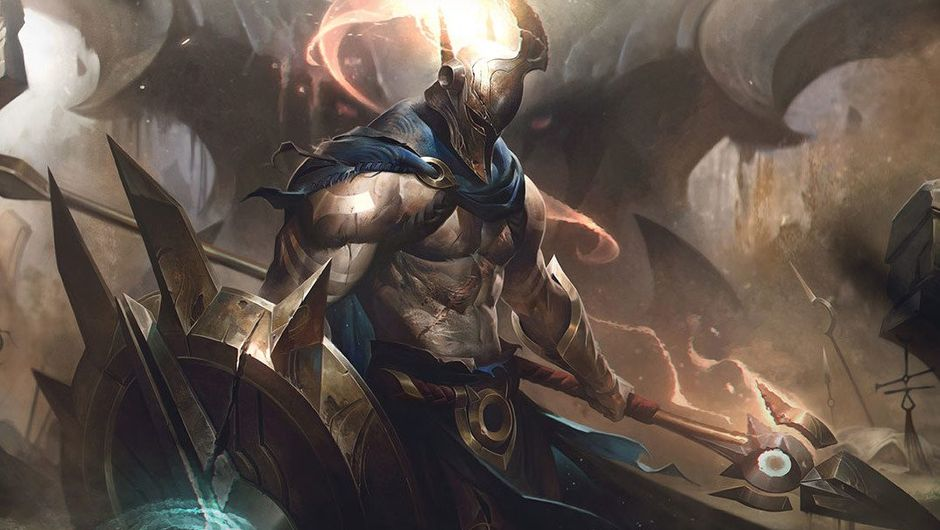 Pantheon's new splash art in League of Legends