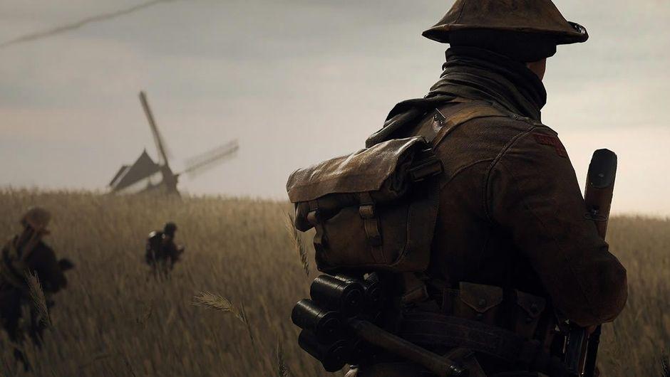 A WWII soldier walking over a vast corn field in Battlefield V