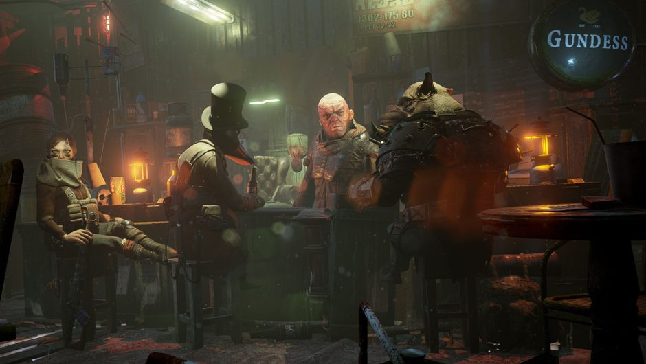 Four people and mutants are drinking in a post apocalyptic bar