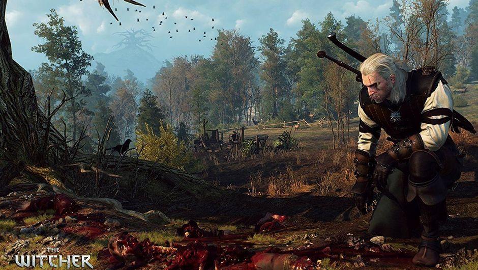 Geralt inspecting a murder scene