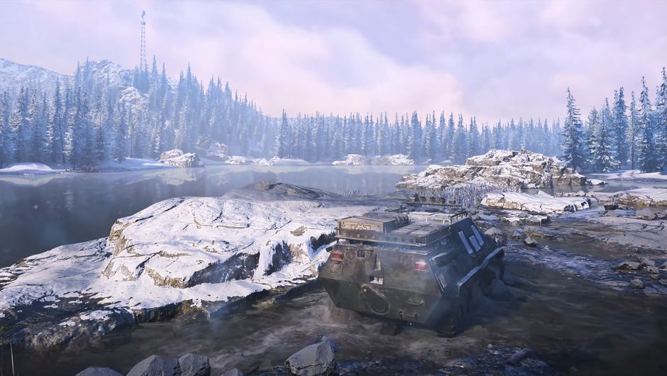 snowrunner screenshot showing a vehicle in the wild