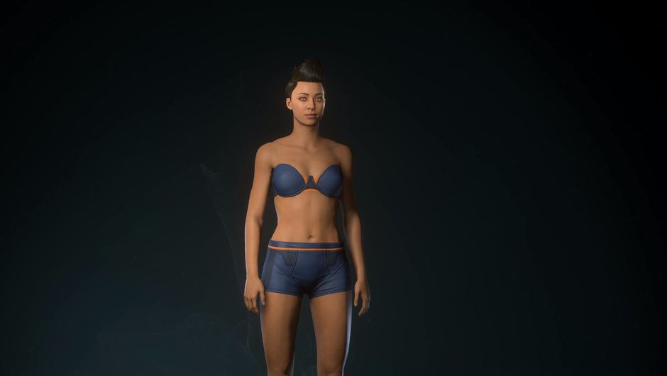 Picture of a female character in her underwear in Star Citizen