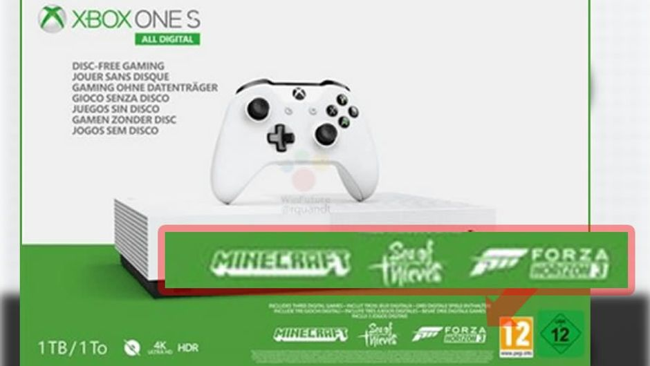 Leaked image of Xbox One S, All Digital edition, front