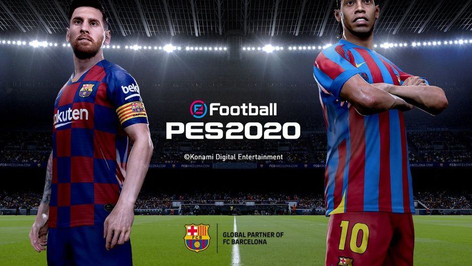 Messi and Ronaldinho in eFootball PES 2020.