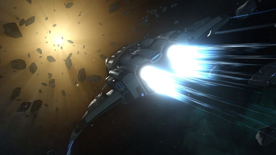 Picture of a space ship flying through space