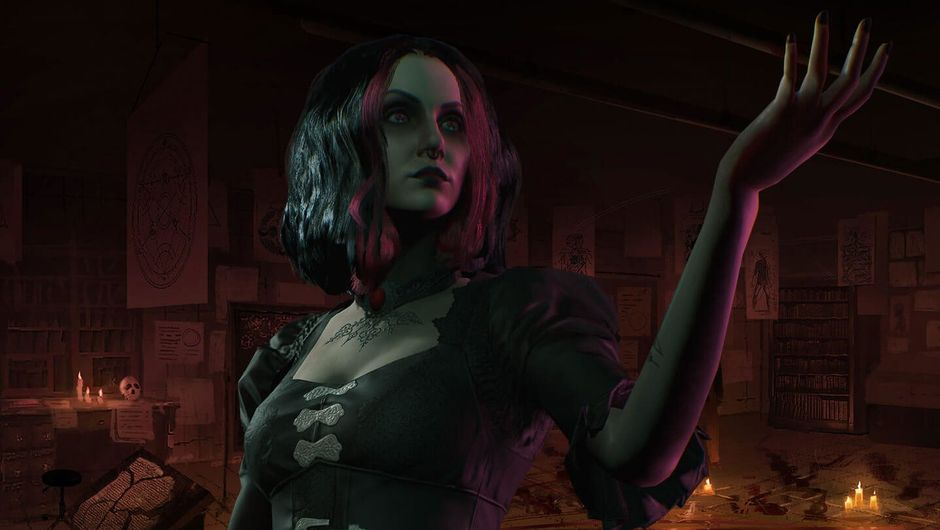 Promotional image showing a female Tremere vampire