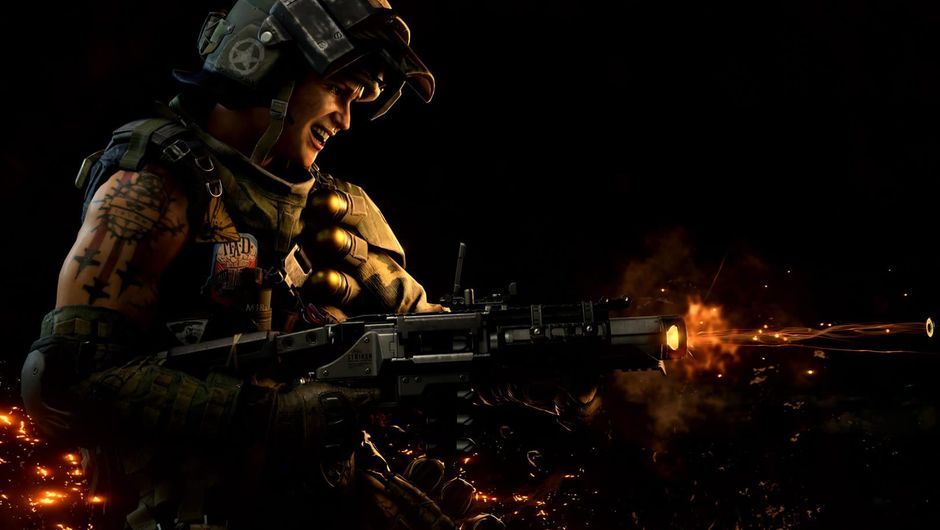A dimly lit soldier firing a rifle in Call of Duty: Black Ops 4