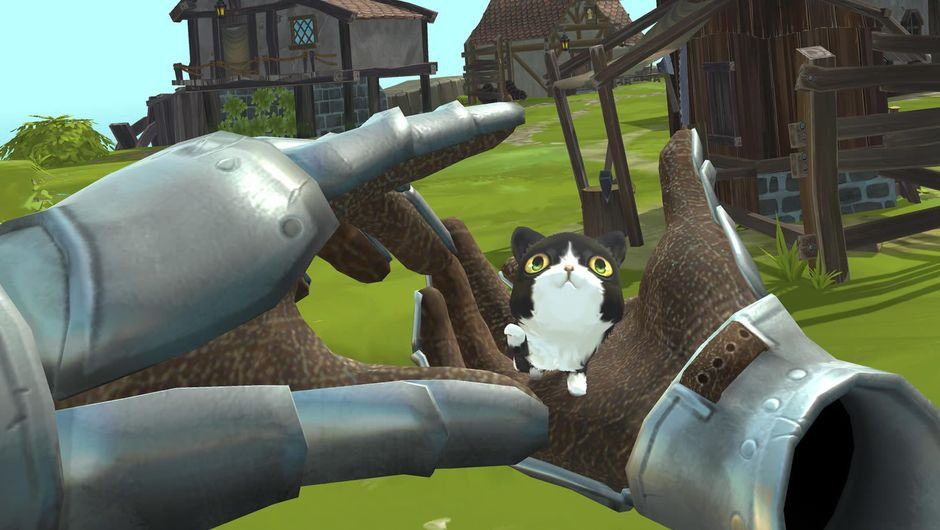 Hands petting a kitten in virtual reality game Townsmen VR