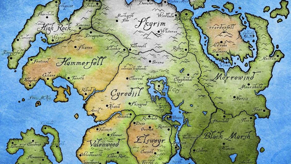 Picture of the map of Tamriel from The Elder Scrolls series