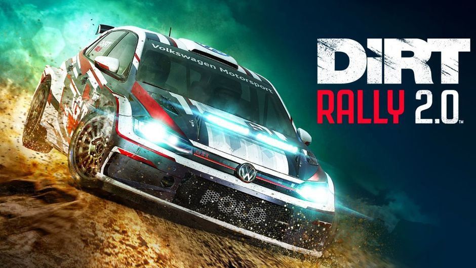 Dirt Rally 2.0 promotional image of VW car ripping through thte dirt with title on the right