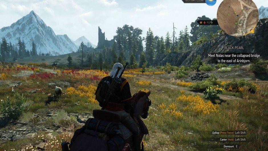 Witcher 3 Geralt riding Roach in a field
