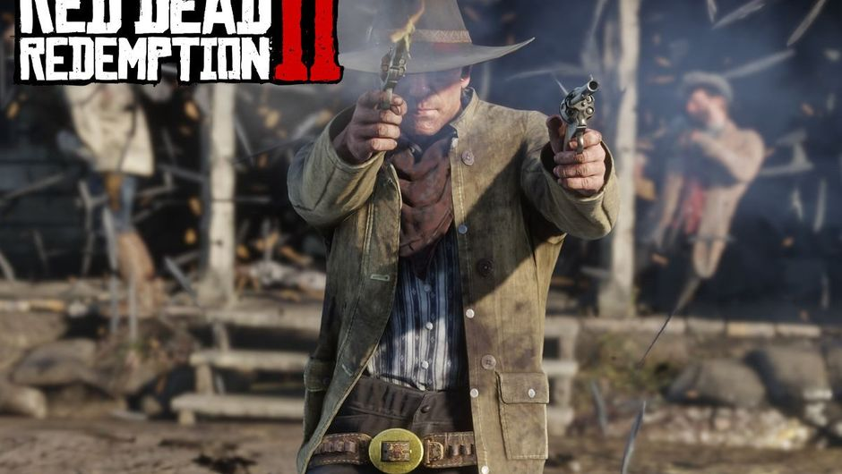Screenshot from Red Dead Redemption 2 showing a gunslinger with two revolvers