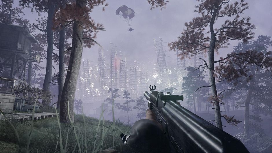 Player is aiming their weapon at the sky in a creepy place