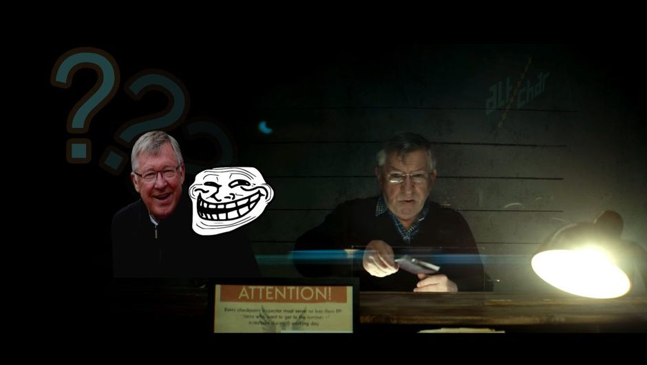 A man resembling Sir Alex Ferguson handing a passport in movie Papers, Please