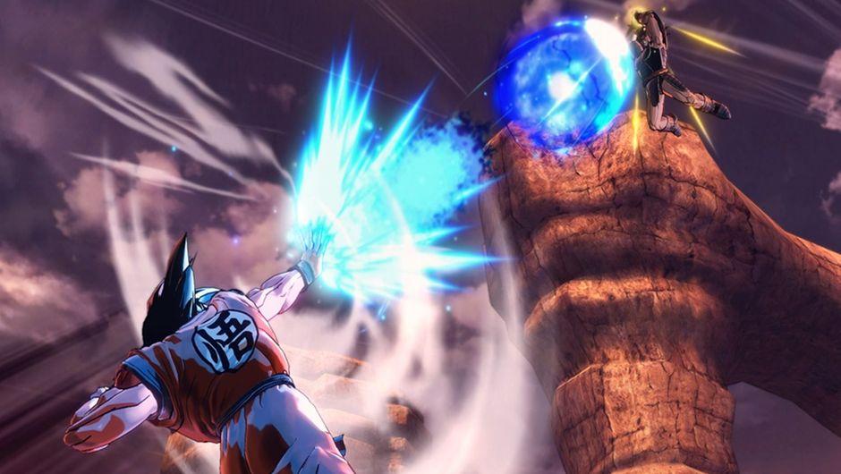 Goku firing a ki wave against Turles in Dragon Ball Xenoverse 2.