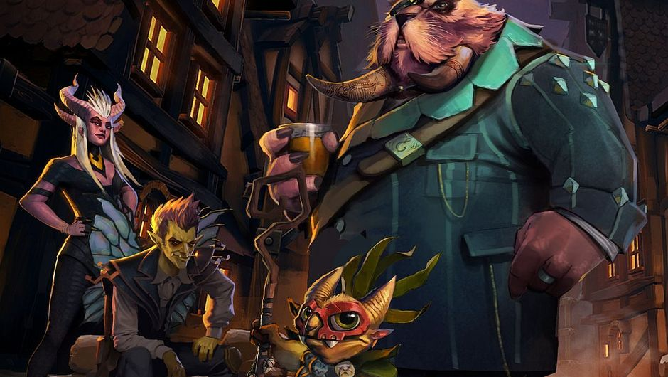 Image of the first four Underlords form Dota autochess standing in a dark alley