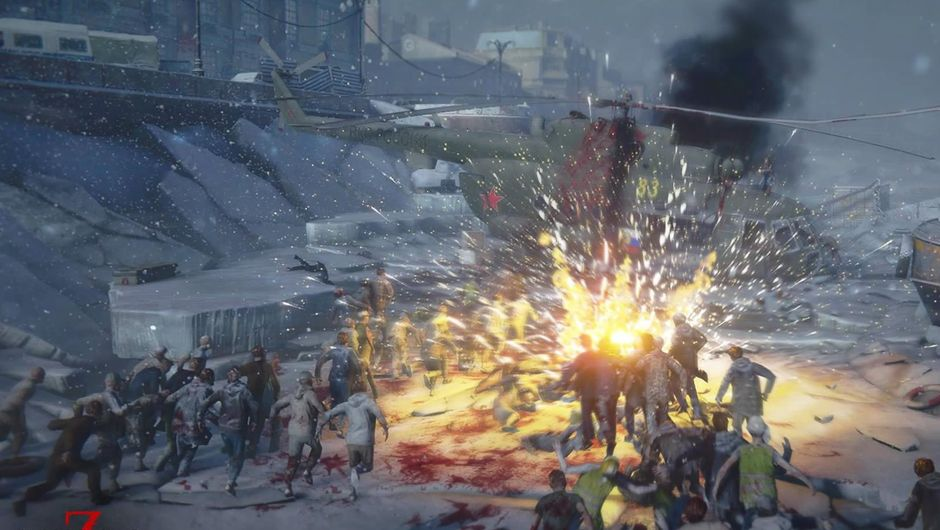 A horde of zombies attacking a helicopter in World War Z