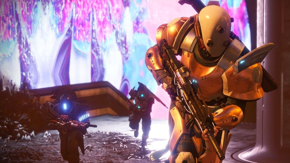 Three Destiny 2 characters running towards the camera the first character is looking to his left