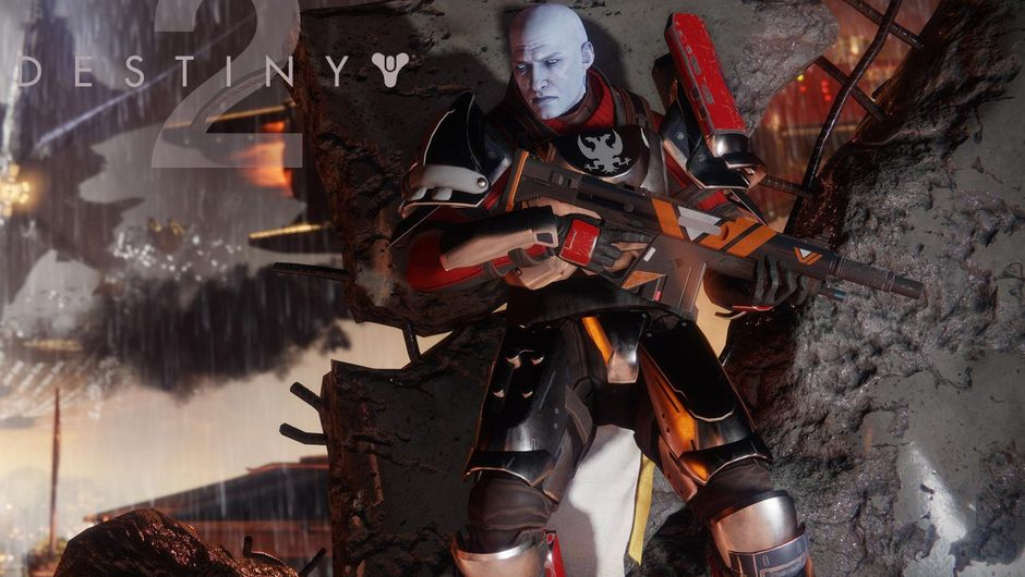 Some blue baldie is taking cover behind a wall in Destiny 2