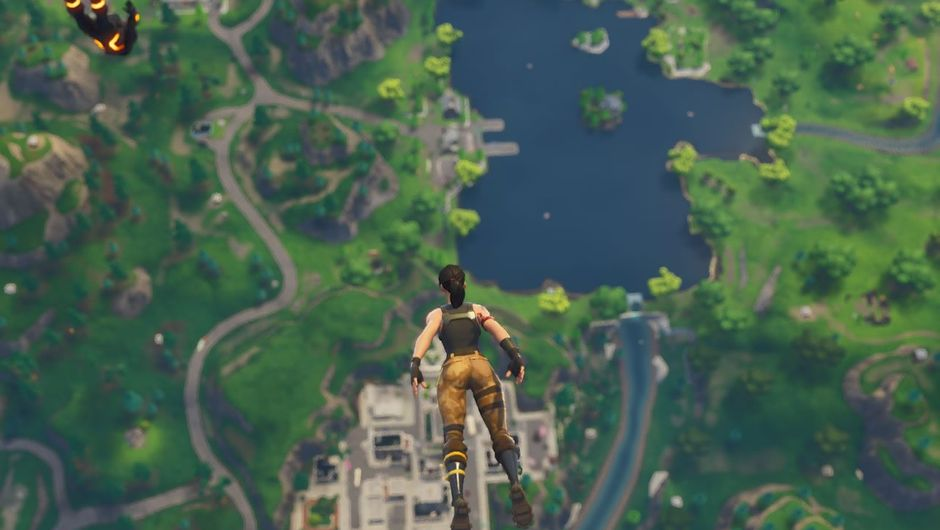 Landing into Tilted Towers, location inside Epic's game Fortnite