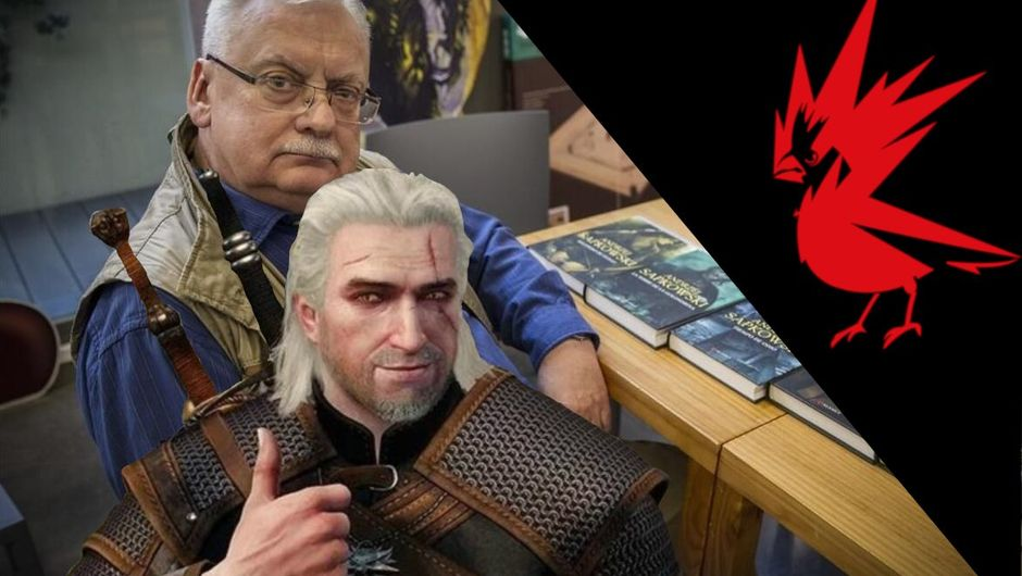 Picture of Andrzej Sapkowski, Geralt of Rivia and CD Projekt Red logo