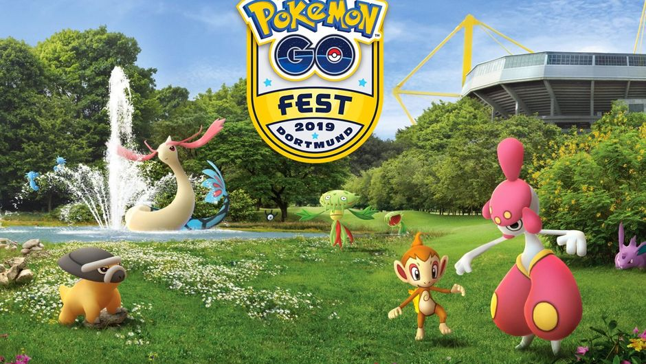 Promotional image for pokemon go live event in dortmund showing pokemon on a meadow