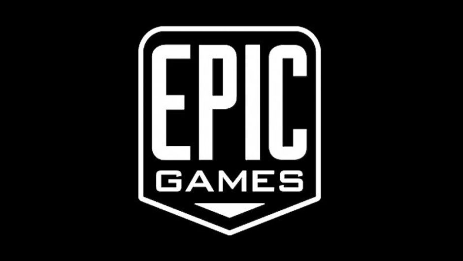 Image of Epic Games' white logo on a black background