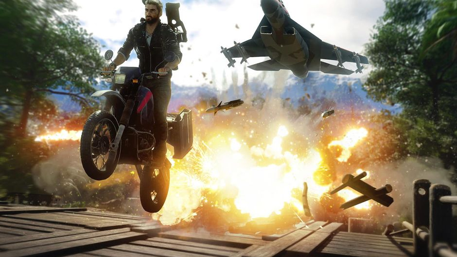 Just Cause 4 protagonist escaping trouble on a motorcycle