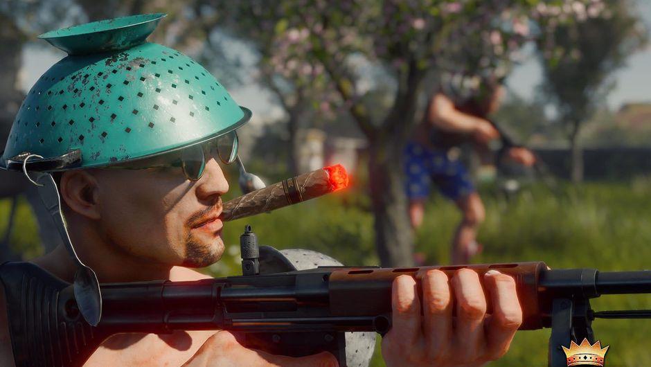 A man with holding a rifle, wearing cookware in Cuisine Royale
