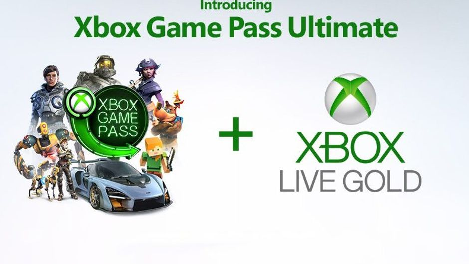 promo art showing xbox game pass and xbox live gold logos