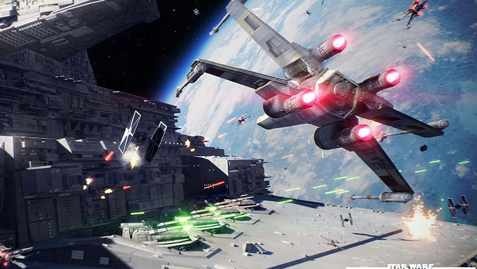 Space ships are fighting in Star Wars Battlefront II.