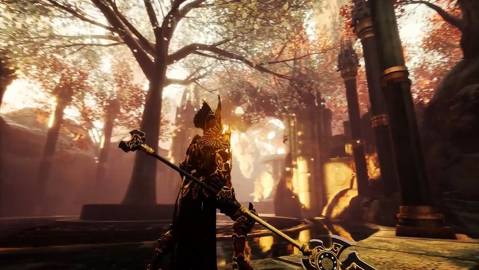 Godfall screenshot showing a character with huge weapon