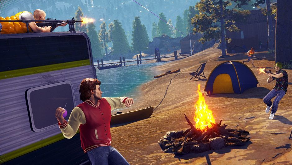Players are fighting near an RV and a campfire in Radical Heights.