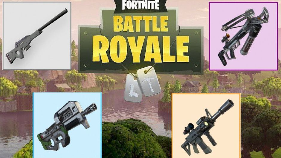 Picture of Fortnite's scenery overshadowed by the pictures of upcoming guns.