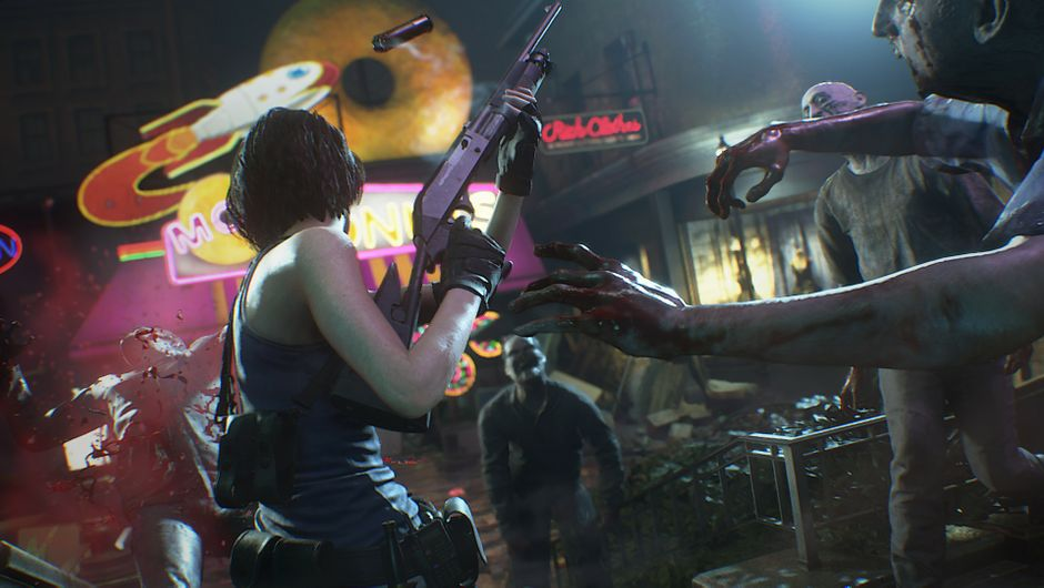 Jill Valentine fighting zombies in Resident Evil 3.