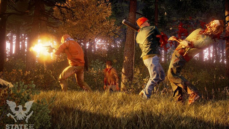 Survivors are fighting zombies near a forest in State of Decay 2.