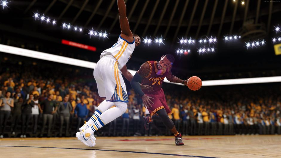 LeBron James guarded by Kevin Durant