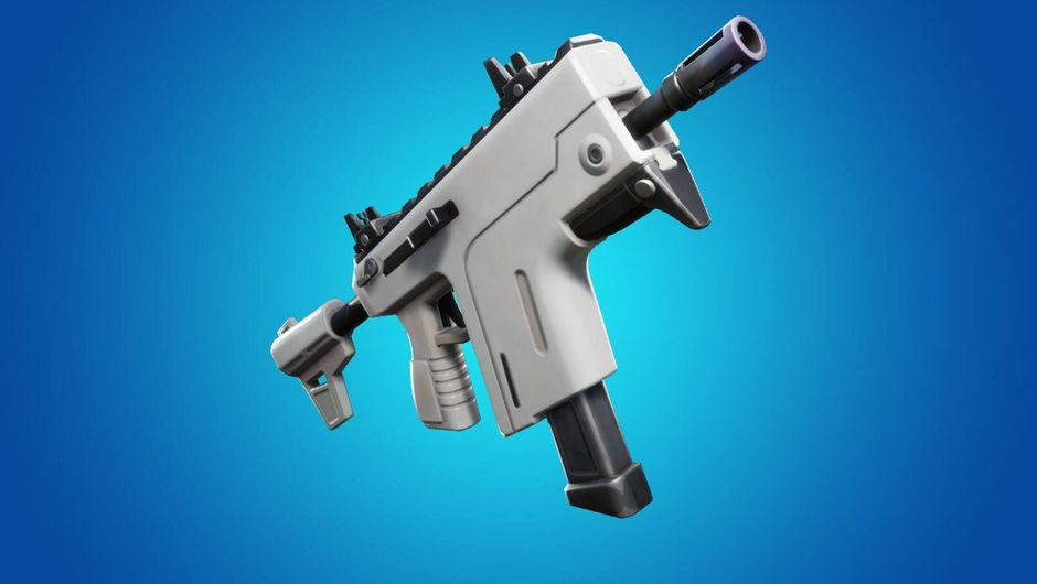 fortnite artwork showing a new white burst smg weapon
