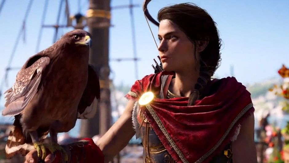 Kassandra is holding an Eagle on her right arm