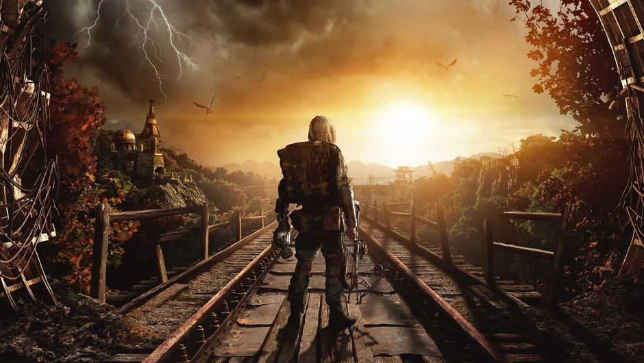 A man standing on railway tracks in shooter Metro Exodus