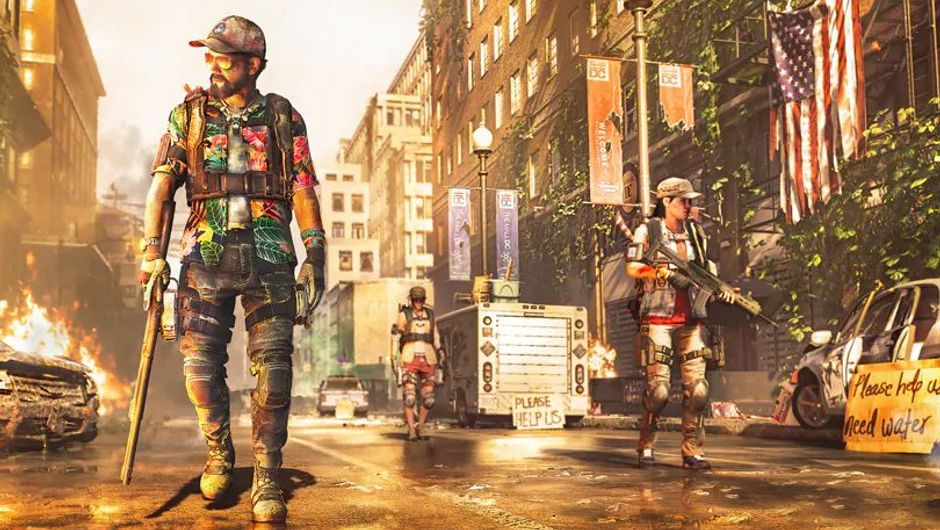 the division 2 artwork showing several agents in summer clothes walking down the street