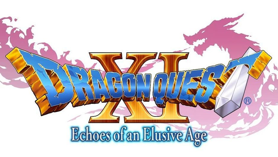 The dragon quest 11 logo on white background