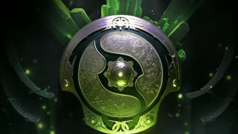 Dota 2 invitational shield image with fancy green light everywhere