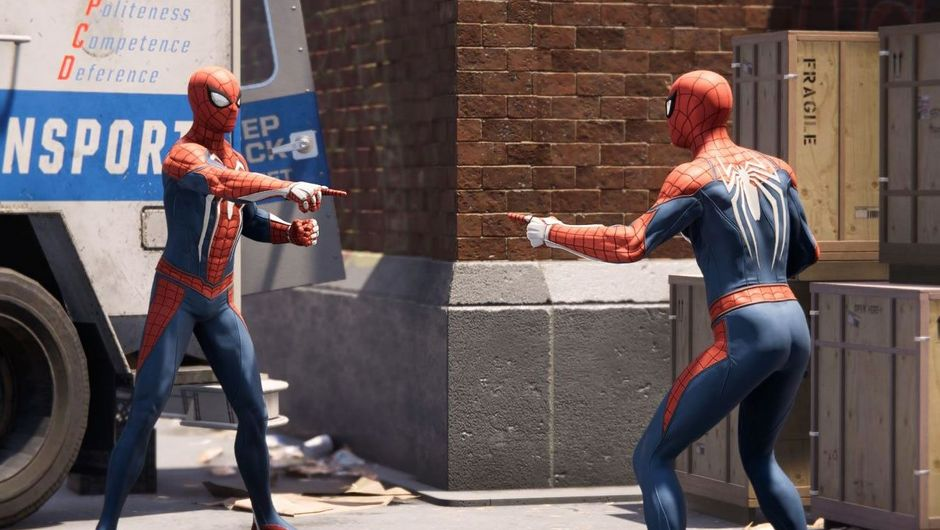 A popular meme from 9gag recreated in Insomniac Games' Spider-Man